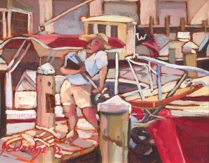 Heading In at Oyster Harbors | 11.5 x 13.5 | Framed  | Oil on canvas  | $400