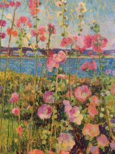 HOLLYHOCKS AT HYANNISPORT | 30 x 40 |  unframed | Oil on canvas | Inquire for pricing