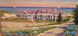 HYANNISPORT WEST BEACH CLUB  15 x 30 | Acrylic on Canvas  |  $1900 Unframed  |  19.5 x 34.5  framed $2130