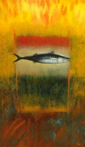 HOLY MACKEREL #15  |  18.5 x 11.875  Framed  |  Mackerel ash & oil pigment on panel  |  $1500