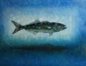 BLUEFISH-2   |  13 x 17  Framed  |  Bluefishl ash & oil pigment on panel  |  $700