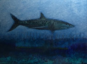 MAKO #5  |  9 x 11  Framed  |  Mako shark ash, encaustic & oil on panel  |  $600
