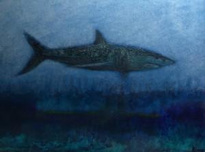 MAKO #5     9 x 11  Framed     Mako shark ash, encaustic & oil on panel     $600