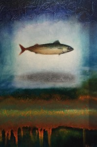 HOLY MACKEREL #21  |  8.875 x 12.75  Framed  |  Mackerel ash & oil pigment on panel  |  $800