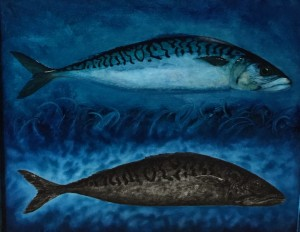 HOLY MACKEREL #3  |  26 x 28  Framed  |  Mackerel ash & oil pigment on panel  |  $2200