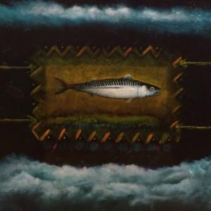 HOLY MACKEREL #6     23 x 23  Framed     Mackerel ash & oil pigment on panel     $2000