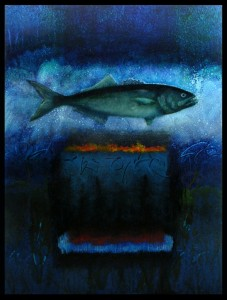 BLUEFISH #3  |  12 x 18  Framed  |  Bluefish ash & oil pigment on panel  |  $1200