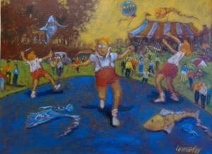 KITE TAMERS |  18 x 24 |  Oil on canvas  |  25 x 31 Framed  |  $2800