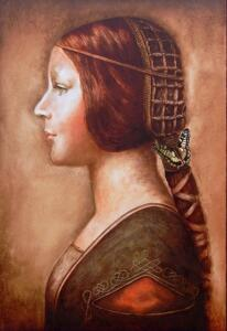LA BELLA PRINCIPESSA CON FARFALLA-THE BEAUTIFUL PRINCESS WITH BUTTERFLY  |  19.5 x 15.5  |  Oil on panel  |  26 x 22 Framed  |  $4000