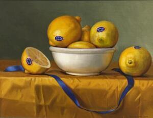 LEMONS AND BLUE RIBBON     Oil on linen board     11 x 14     14 x 17 Framed     $3200