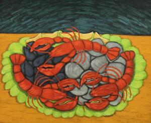 LOBSTERS  |  Oil on canvas  |  20 x 24  |  24 x 27 Framed  |  $2400
