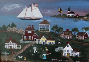 LOBSTER LANE CROQUET | 12 x 16  | Acrylic on canvas  | 18 x 22 Framed  | $1100