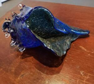 Large Conc Shell   |  Silver Blue   |  Hand Blown Glass   |  $150
