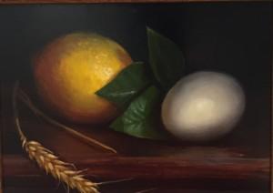 LEMON, EGG AND WHEAT  | 5 x 6.5 | Oil on panel  |  $800