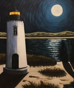 EDGARTOWN LIGHTHOUSE      Oil on canvas      24 x 20       31 x 27 Framed      $2400