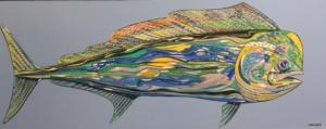 MAHI MAHI  |  23 x 58  |  Acrylic on canvas  |  30 x 65 Framed  |  $2400