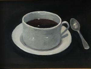 MORNING COFFEE  |  6 x 8  |  Oil on board  |  10 x 12 Framed  |  $450