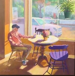 MORNING COFFEE AT THE COOP  |  Oil on canvas  |  24 x 24  |  25.5 x 25.5 Framed  |  $1800