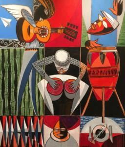 MUSICIANS  |  Acrylic on canvas  |  36 x 32 Framed  |  $4800