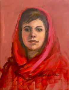 WOMAN IN RED SCARF  |  Oil on gessoed paper  |  12 x 9  |  18 x 14 Framed  |  $700