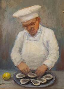 THE OYSTER CHEF  |  Oil on board  |  8 x 6  |  12.5 x 10.5 Framed  |  $450