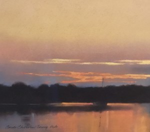 OSTERVILLE SUNSET |  Pastel on paper  |  11.625 x 13.5  |  21 x 22.5 Framed  |  $1900