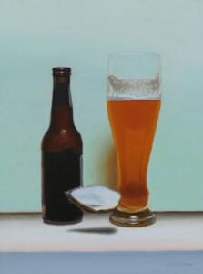 OYSTER AND BEER |  Oil on linen panel |  12 x 9 |  17 x 14 Framed |  $600