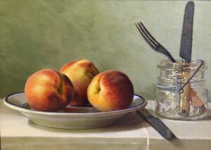 PEACHES KNIFE AND FORK     Oil on linen on panel     9.5 x 13.25     15 x 18.5 Framed     $2800