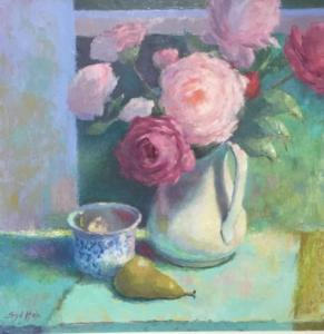 PEONIES, PEAR AND BLUE CUP     Oil on canvas     24 x 24     26.5 x 26.5 Framed     $1800