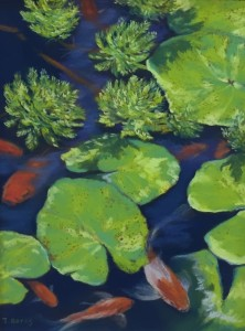 PLAYING KOI  |  Pastel on sanded paper | 9 x 12 unframed | 15 x 18 framed | $500