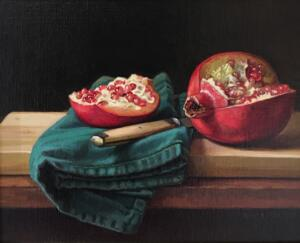 POMEGRANATE  |  Oil on board  |  8 x 10  |  18.5 x 21.5 Framed  |  $1000