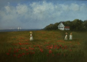 POPPIES BY THE SEA | Oil on board | 19 x 22.5 |  $1000