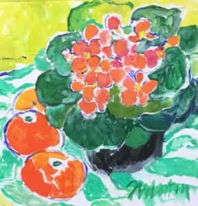 PRIMROSE AND CITRUS  |  Oil on canvas  |  12 x 12  |  $800
