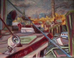 Provincetown Harbor | 13.5 x 16.5  | Framed | Oil on canvas  | $450