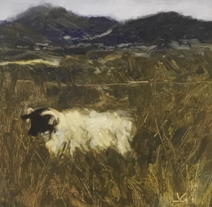 RAM PASTURE  |  8 x 8  |  Oil on canvas  |  9 x 9 Framed  |  $300
