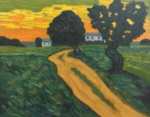 ROAD TO FARM  |  16 X 20  |  Oil on canvas  |  21 x 25 Framed  |  $1750