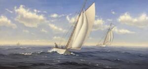 SAILING TOWARDS TRURO  |  Acrylic on canvas   |  12 X 24  |  18 X 30  Framed  |  $3900