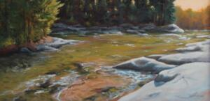 SHALLOW RIVER  |  Acrylic on Canvas |  26 x 48 |  framed  | $4100