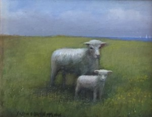 SHEEP BY THE SEA  | Oil on canvas | 10.5 x 12 | $350