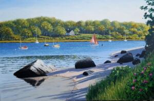 SIPPEWISSETT HARBOR , FALMOUTH  |   Oil on canvas  |   24 x 36   |   31.5 x 43.5 Framed   |   $3800