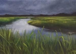 STORM LIGHT     5 x 7     Oil on canvas     6.5 x 8.5 Framed     $350