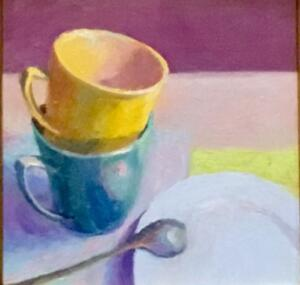 STACKING CUPS  |  Oil on panel  |  8 x 8  |  14 x 14 Framed  |  $600