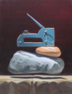 STAPLING STONES |  Oil on linen panel |  18 x 14 |  24 x 17 Framed |  $1400