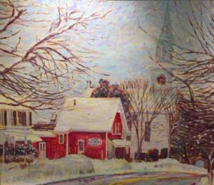 CENTERVILLE VILLAGE IN THE SNOW | oil on canvas |  26 x 30 | framed  | 33.5 x 37 |  Inquire for pricing