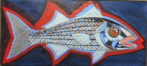 STRIPED BASS  |  13.5 x 30  |  Acrylic on canvas  |  15.5 x 32  Framed  |  $850