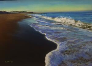 SUNRISE ON NAUSET BEACH    Pastel on sanded paper      12 x 16      $700  Framed