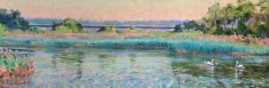 SWANS AT RUSHY MARSH POND     12 x 36     Acrylic on canvas     $2000