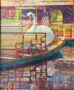 SWAN BOATS BOSTON PUBLIC GARDENS | 40 x 50 | unframed | Oil on canvas | Inquire for pricing