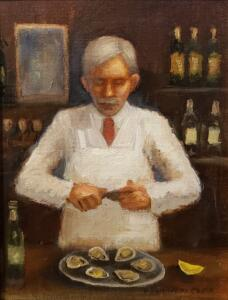 THE OYSTER BAR  |  8 x 6  |  Oil on board  |  12 x 10 Framed  |  $450