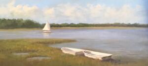 TOW DINGHYS | Oil on canvas |10 x 20 |  $1100